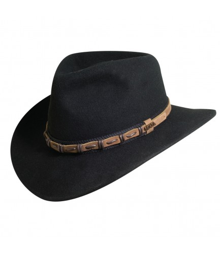 Wool Outback Hat With Leather trim