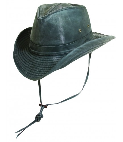 Weathered Cotton Outback Hat With Chin Strap