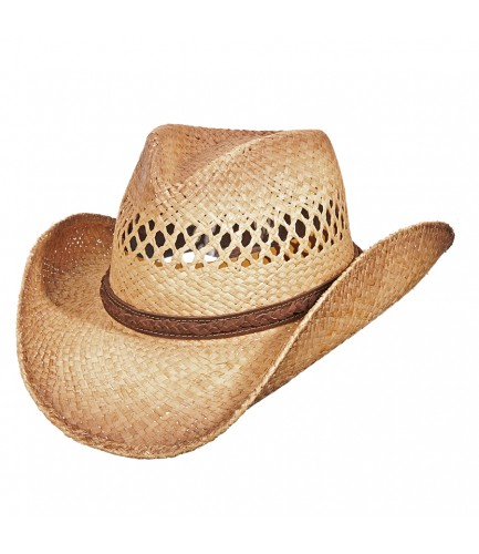 Raffia Western Hat With Leather Band