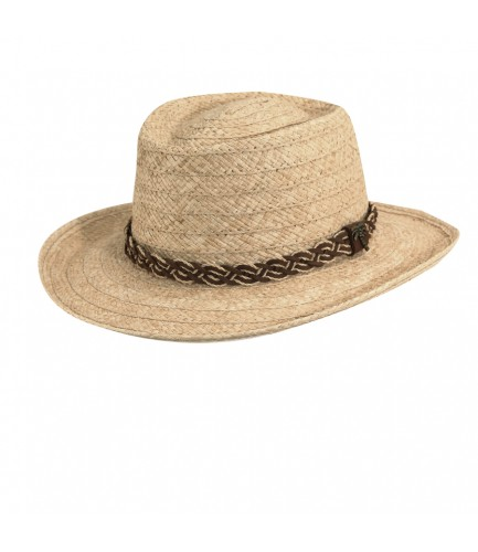 Organic Raffia Gambler Hat With Braided Band