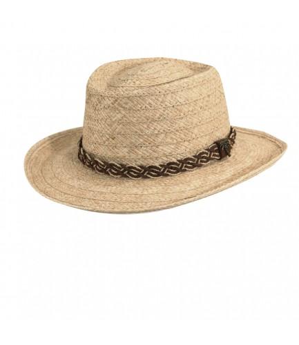 Organic Raffia Gambler Hat With Braided Band