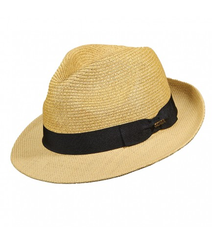 Paper Braid Fedora With Grosgrain Band