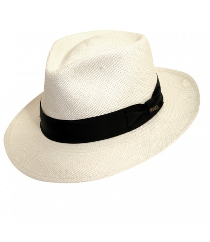 Bleached Colored Panama Hat With C Shaped Crown