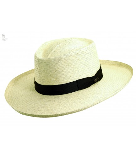 Gambler Shaped Panama Hat With Extra Large Brim