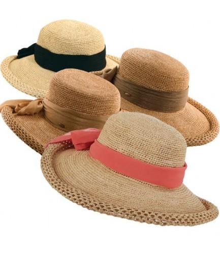 Designer Crocheted Raffia Hat With Chiffon Bow