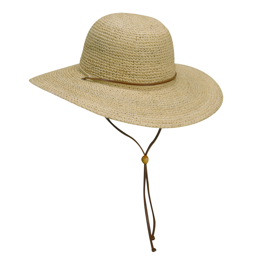 Crocheted Raffia Beach Hat With Leather Chin Strap | Scala ...