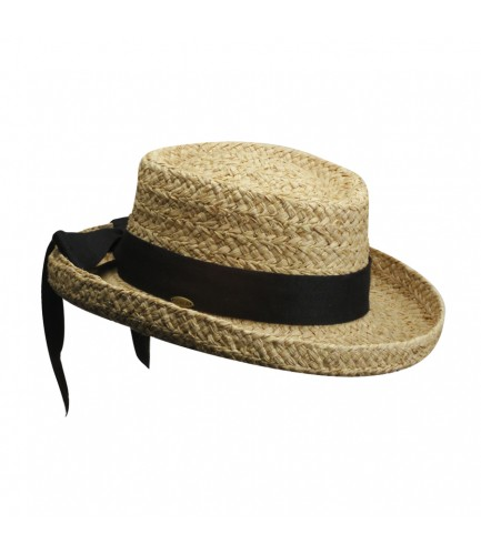 Rough Braid Raffia Hat With Herringbone Bow Size Petite