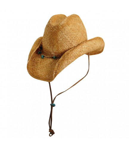 Western Hat With Turqoise Beads