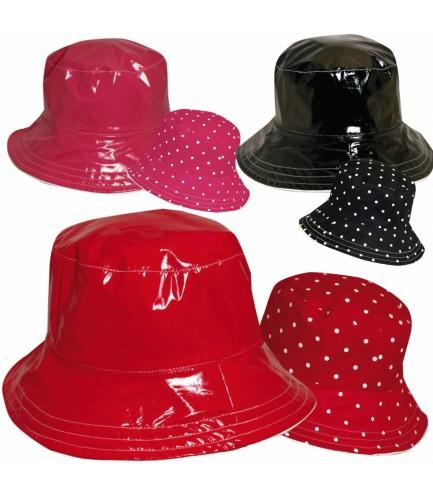 Polka Dot Rain Hat Reversible